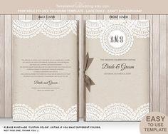 Lace doily booklet wedding program template by PrintableWeddingDIY, $10.00