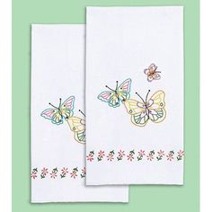 stamped white decorative hand towel 17 inch x 28 inch one pair fluttering - Decorative Hand Towels