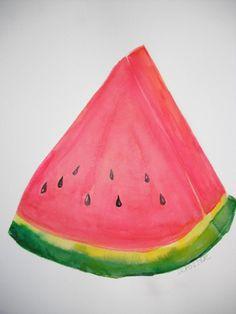 Watermelon Watercolor Painting Original  Fruit wall art 11 x