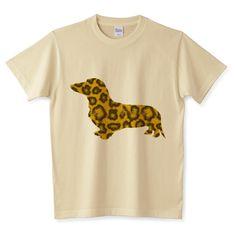 ヒョウ柄とダックスフンド | デザインTシャツ通販 T-SHIRTS TRINITY(Tシャツトリニティ) 可愛いヒョウ柄のタイトなシルエットデザイン。 ちょっとゴージャスなシルエットです。 ミニチュアダックスさんをモチーフにしたユニークでアートなデザインTシャツ。毛並みがリアルです。
