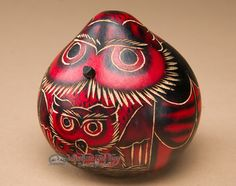 Andean Indian Hand Carved Gourd Owl Rattle -Red Owl (r4)
