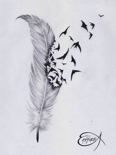 Love the idea of something coming out of a feather Black+Phoenix+Feather+Tattoo Phoenix Feather Tattoos, Feather With Birds Tattoo, Feather Drawing, Feather Tattoo Design, Bird Feathers, Tattoo Bird, Feather Sketch, Tattoos With Birds, Pheonix Feather