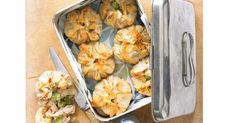 If you like pies, you'll love these healthy little party-size ones, filled with chicken and broad beans in a cream sauce and topped with flaky filo. Filo and lean chicken cut the amount of fat. Picnic Pie Recipe, Pie Recipes, Chicken Recipes, Filo Pastry, Fava Beans, Spring Recipes, Shredded Chicken, How To Cook Chicken, Cooked Chicken