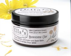Bottoms Up! Herbal Diaper Ointment - made with calendula, comfrey, chickweed, yarrow, fair trade shea butter and Ontario beeswax. Amazing for skin rashes or dry skin.