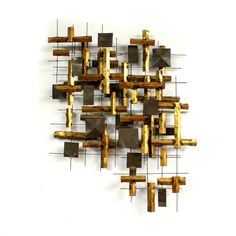 SALE Large Brutalist Abstract Metal Wall Sculpture Mid century Modern Signed Friedle