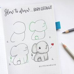 I need this baby elephant as a plushie! 😍🐘 Lifeinabujo you've done it again ✨ save this step by step for future inspo! ♥️ I need this baby elephant as a plushie! 😍🐘 Lifeinabujo you've done it again ✨ save this step by step for future inspo! Bullet Journal Notebook, Bullet Journal Ideas Pages, Bullet Journal Inspiration, Doodle Art For Beginners, Easy Doodle Art, Baby Elephant Drawing, Cute Easy Drawings, Doodle Art Journals, Bullet Journal Aesthetic