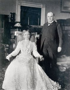 Ida Saxton McKinley: Wife of the 25th President of the United States William McKinley, who held office from 1897 to 1901. After the deaths of both of her infant daughters, she developed epilepsy and was very dependant on her husband. Breaking with tradition, President McKinley insisted his wife be seated next to him at state dinners, as opposed to the opposite end of the table.