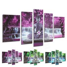 5PCS Frameless Canvas Prints Buddha Buddhism Worship Picture Art Home Wall Decoration
