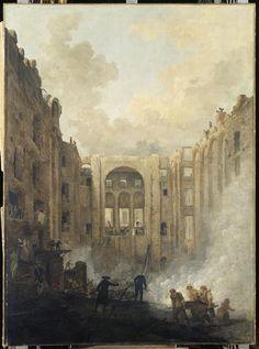 Hubert Robert, Fire at the Palais Royal's Opera, 1781