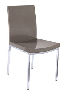 Easily matched to any table in our range, this simple chair is made glamorous by contrasting the chrome legs with a high gloss seat.