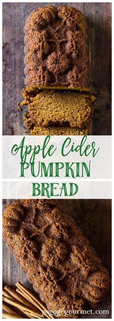 Apple Cider Pumpkin Bread via @gogogogourmet Cake Filling Recipes, Healthy Bread Recipes, Apple Recipes, Pumpkin Recipes, Fall Recipes, Dessert Recipes, Apple Desserts, Brunch Recipes, Thanksgiving Recipes
