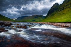 Glen Etive . River Etive, HDR. North West Scotland.