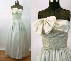 d816a8a8b85 1980s gown wedding dress prom dress ivory 80s does 50s strapless dress bow  on bodice pockets A J Bari Size S