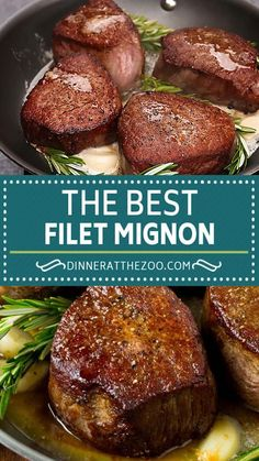 This filet mignon recipe is tender steak seared to golden brown perfection, then topped with garlic and herb butter.