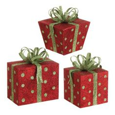 RAZ Glittered Christmas Present Decoration Set of 3  3 Assorted Styles of Christmas Package Decorations Set includes one of each style Red with Lime Green Polka Dots, presents topped