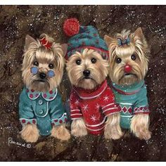 Precious Pet Paintings 3.33-Ft X 2.33-Ft Yorkshire Terrier Christmas F