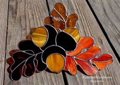 Stained Glass Suncatcher, Autumn Oak Leaves and Acorns, Fall Colors, Home & Garden Decor, Fall Season Decor, Warm Colors, Window Hanging #StainedGlasses