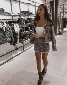 Channel the vibe in our the black tweed blazer and skirt co ord set. Shop the tweed co ord jacket and skirt set outfits online for UK next working day delivery! Girly Outfits, Mode Outfits, Classy Outfits, Trendy Outfits, Fall Outfits, Fashion Outfits, Fashion Trends, Co Ords Outfits, Luxury Fashion