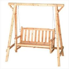 Weatherproof Wood Home Patio Garden Decor Bench Swing