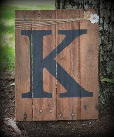 Initial Pallet Wood Art Reclaimed Wood Sign by HarveyPalletDesigns