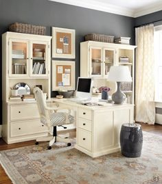 Pretty gray and cream home office