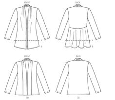 Sewing Pattern for Misses' Gathered Collar Jackets and