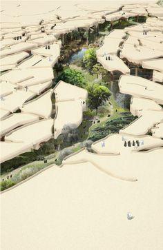 Al Fayah Park | Heatherwick Estudio En Abu Dhabi (Emiratos Árabes Unidos), se construirá un parque en el desierto, pero cubierto del sol.