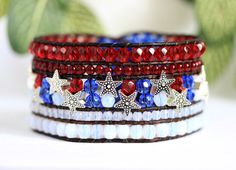 RESERVED Red White Blue Patriotic Beaded Leather Cuff, Silver Stars, Brown Leather Wrap Bracelet