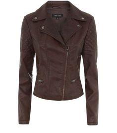Brown Leather-Look Biker Jacket