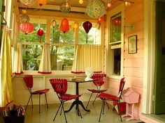 small house porch with lanterns