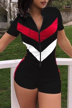 lovelywholesale / Cheap Rompers Lovely Casual Zipper Design Patchwork One-piece Romper Swag Outfits, Girl Outfits, Casual Outfits, Cute Outfits, Fashion Outfits, Fashion Tips, Neon Rave Outfits, Fashion Ideas, Trend Fashion