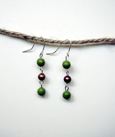 Dangle Earrings with Green and Copper Brown Round Beads. Gift for her. Jewelry for any occasion.