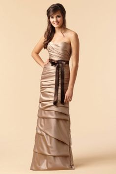Sweetheart sheath / column with ruffle embellishment satin bridesmaid dress
