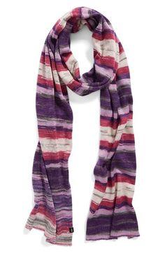 Purple woven striped scarf