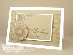 hand crafted card fro Stamping Moments ... kraft with vanilla mats and stamping in brown ... soothing monochromatic ...