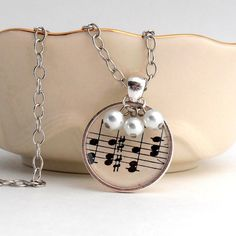 Music Art Pendant Necklace Recycled Sheet Music by ginnysboutique, $17.75