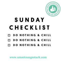 Checkliste für deinen Sonntag! Wer seine Ziele erreichen will, muss sich auch mal ausrasten! Und beim Rasten das Abhaken der Checkliste üben
