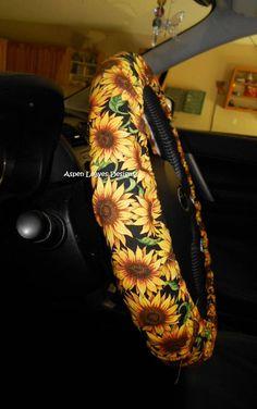 Sunflowers on black steering wheel cover, Boho summer floral car accessories - - Cute Car Accessories, Sunflower Accessories, Car Essentials, Car Hacks, Cute Cars, Future Car, Luxury Cars, Dream Cars, Baby Car Seats