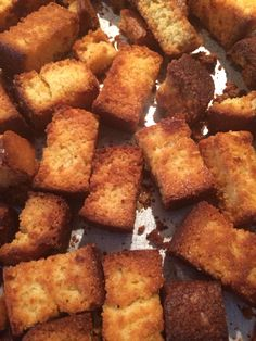 Corn bread croutons for chili. Cook bread and when cooled, cut into pieces and place on cookie sheet, brush with melted butter and a little drizzle of honey.  Bake at 400* for about 8-10 minutes. Flip over and bake about 5-10 minutes more... Till nicely browned. Serve with spicy chili!!  (add a little cayenne if you want them spicy) YUM