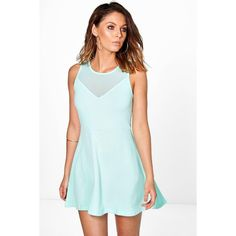 Boohoo Sarah Mesh Panel Skater Dress ($14) ❤ liked on Polyvore featuring dresses, mint, blue dress, mint green cocktail dress, day to night dresses, skater dress and mint skater dress