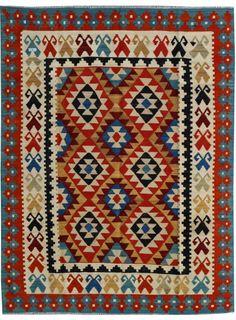"""Multi-colored Oriental Kilim  6' x 7' 10"""" (ft) - No. 26319"""