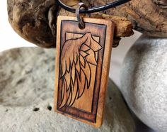 Angel Wing Necklace, Wood Wing Pendant, Hand Engraved Wing Jewelry By Victor Coolidge @ SepiaTree #angelwing, #angelwingnecklace #wingnecklace #woodjewelry #woodworking #necklace #pendant #handengraved