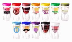"""Vino 2 Go - This 10 oz. acrylic, wine tumbler comes with a lid that's available in 8 colors. Wraps and larger images available. Dimensions: H-6 1/2"""" T-3 3/8"""" B-2 5/8"""". Customize with your logo today!"""
