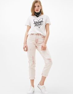 Mom fit jeans with high waist - Trousers - Bershka Israel