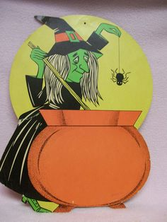 Retro Halloween Cardboard Witch and Cauldron by FabVintageEstates, $9.50