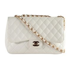 Chanel Classic 2.55 Quilted Caviar Jumbo Flap Shoulder Handbag ❤ liked on Polyvore