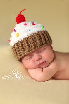 Newborn Baby Crochet Cupcake Hat Photo Prop. $20.00, via Etsy.