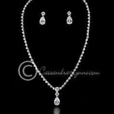 Classic Teardrop Wedding Necklace Jewelry Set This classic wedding jewelry set is designed with round CZ jewels and accented with a teardrop jewel. Earrings are approximately inches, post back, necklace is 16 inches with a locking clasp. Wedding Jewelry For Bride, Prom Jewelry, Bridal Jewelry Sets, Bridesmaid Jewelry, Jewelry Necklaces, Jewelry Art, Gold Jewelry, Bride Necklace, Back Necklace