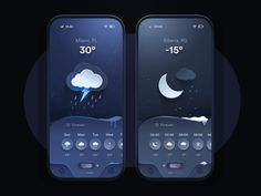 Weather App - Night 🌪️ | Beyond Neumorphism by Andrei Simion on Dribbble Weather, Night, App Design, Projects, Log Projects, Blue Prints, Weather Crafts, Application Design