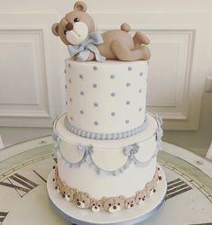 Cake Battesimo bimbo Torta Baby Shower, Baby Shower Cakes For Boys, Baby Boy Cakes, Baby Boy Shower, Baby Boy Christening Cake, Bolo Fack, Baby Shower Venues, Teddy Bear Cakes, Shower Bebe